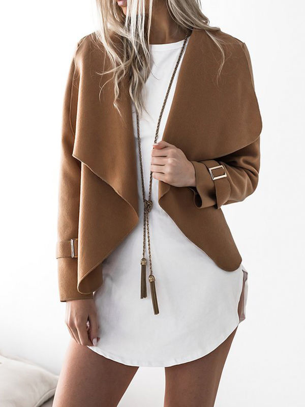 Euramerican Turndown Collar Long Sleeves Asymmetrical Camel Polyester Jacket
