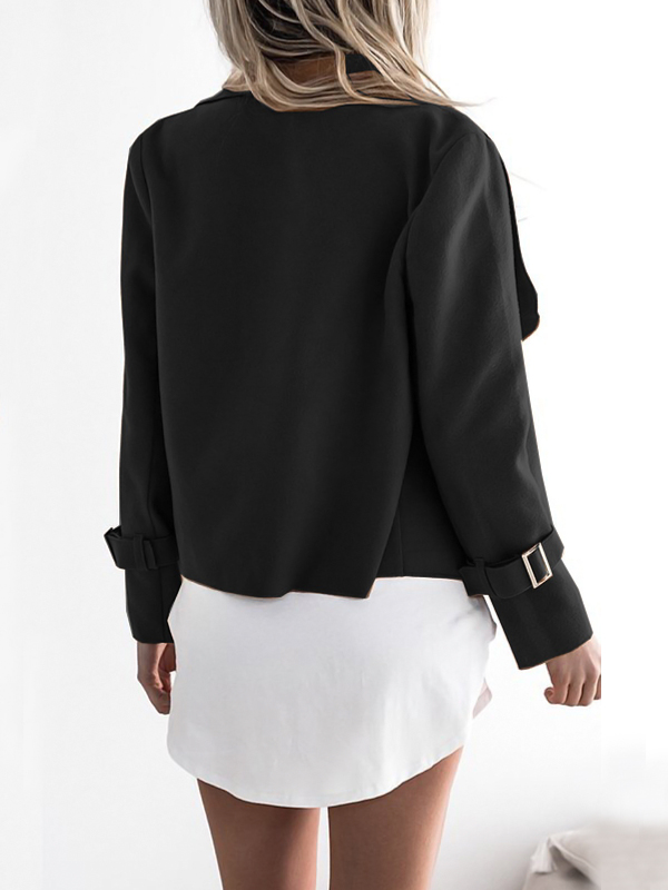 Euramerican Turndown Collar Long Sleeves Asymmetrical Black Polyester Jacket