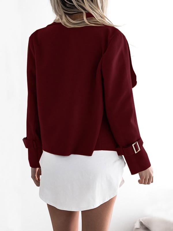 Euramerican Turndown Collar Long Sleeves Asymmetrical Wine Red Polyester Jacket