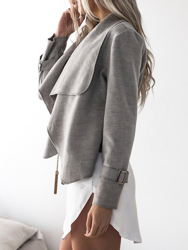 Polyester Turndown Collar Long Sleeve Regular Coat&Jacket