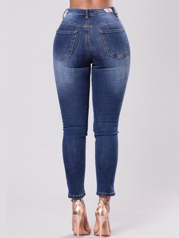 Fashion High Waist Embroidered Design Denim Pants