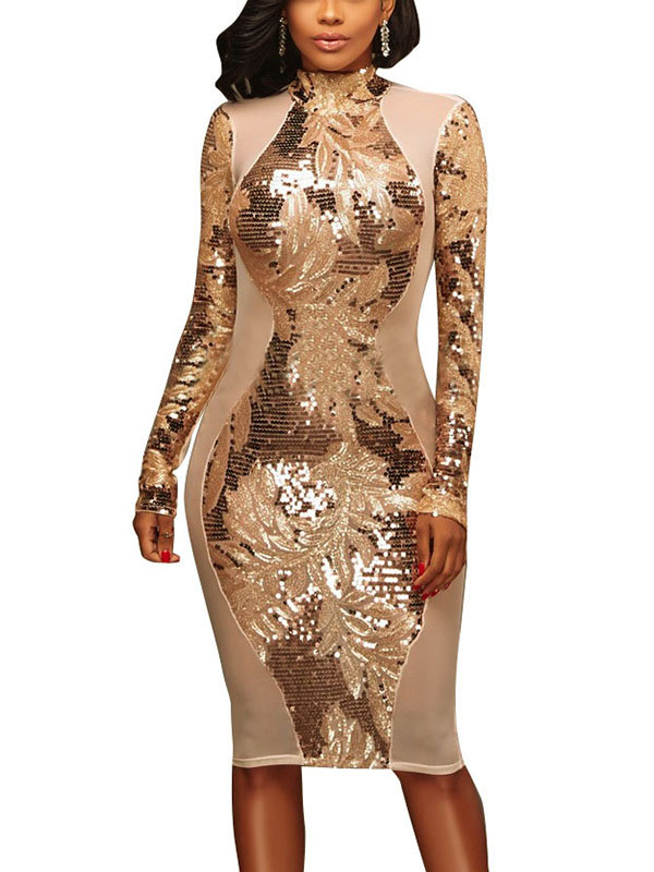 Sexy Patchwork Sequined Decorative Polyester Sheath Knee Length Dress