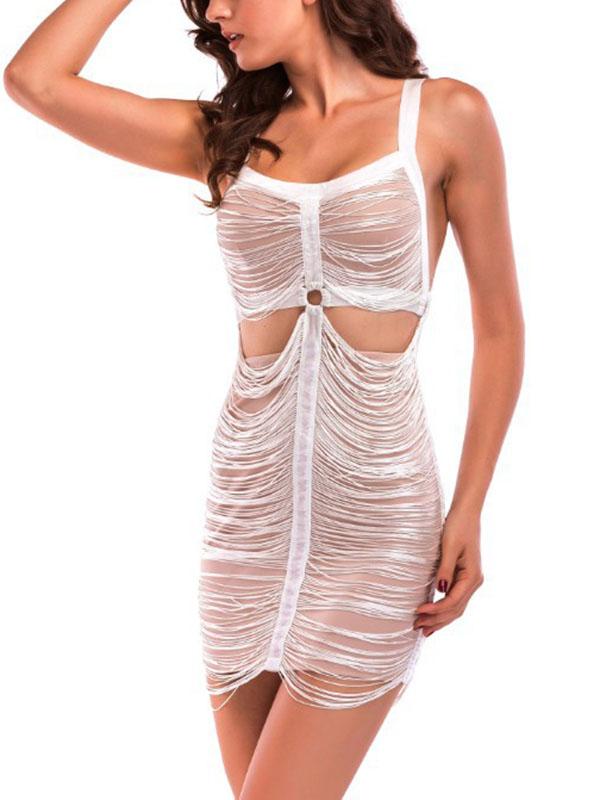 Sexy Round Neck Hollow-out Khaki Polyester Sheath Mini Dress