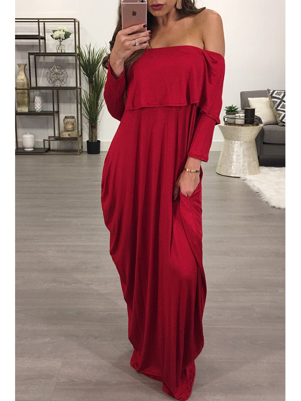 Fashion Dew Shoulder Falbala Design Vin Red Cotton Blend Cheville Longueur Robe
