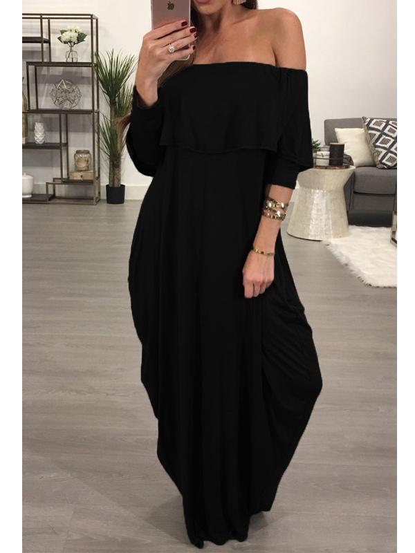 Moda Dew hombro falbala diseño negro algodón mezcla de tobillo vestido de longitud