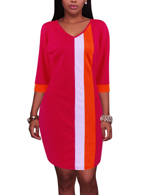 Trendy V Neck Half Sleeves Patchwork Red Healthy Fabric ...