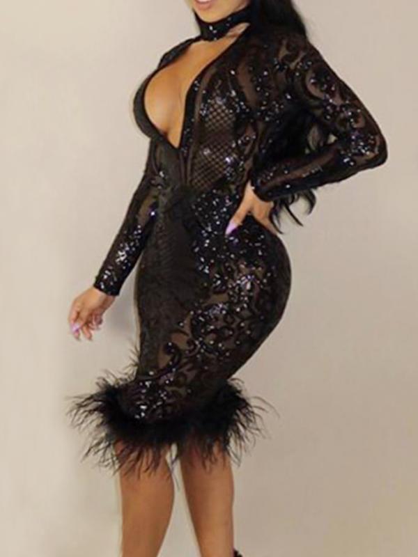 Sexy Vestido Profundo Com Pescoço Transparente Com Bainha De Poliéster Preto Vestido De Comprimento Do Joelho