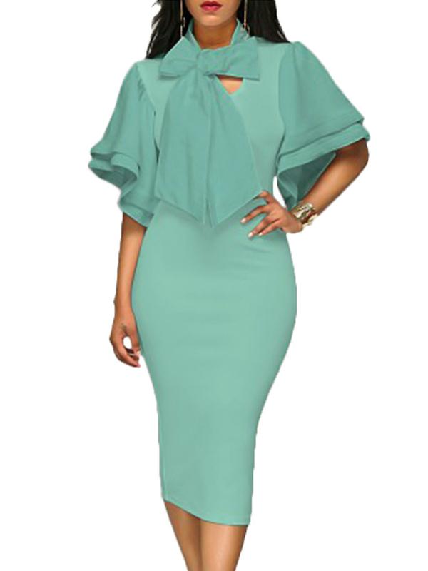 Trendy V Neck Half Sleeves Bow-tie Decoration Green Cotton Sheath Knee Length Dress Dresses <br><br>
