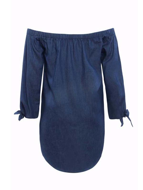 Модная кнопка плеча плеча Декоративное темно-синее джинсовое мини-платье