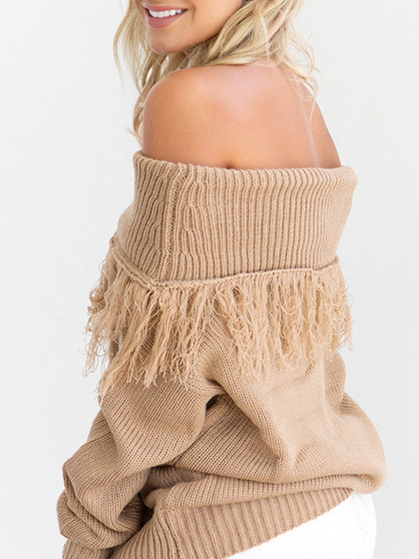 Trendy Dew Shoulder Long Sleeves Light Tan Cotton Blends Sweaters