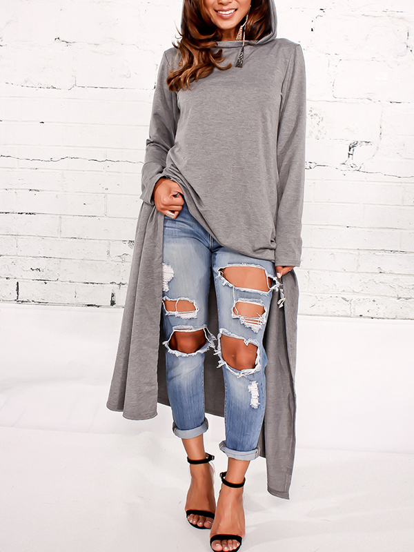 Leisure Round Neck Long Sleeves Grey Cotton Blends Pullovers