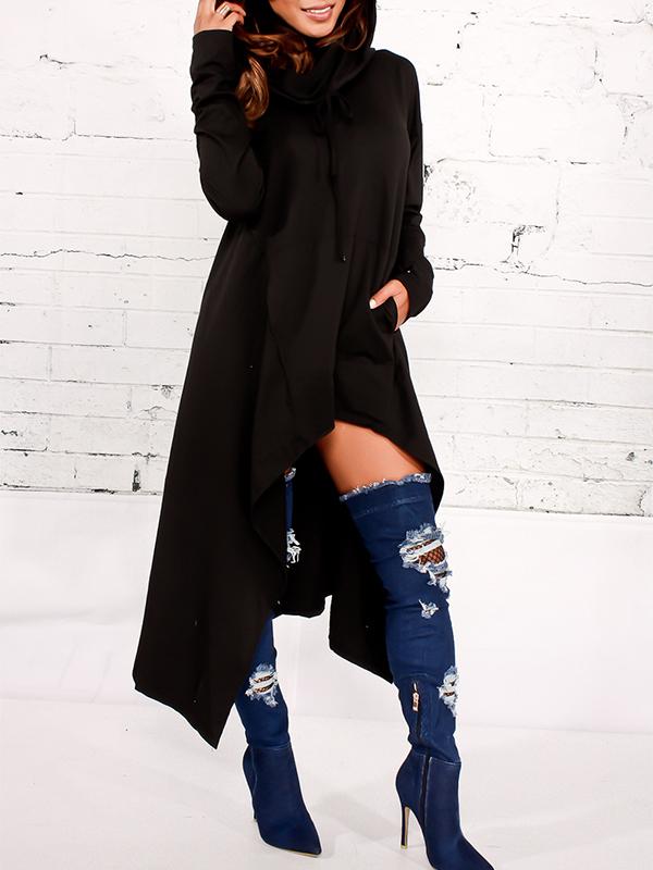 Freizeit Haufen Kragen Asymmetrische schwarze Baumwollmischungen Pullovers