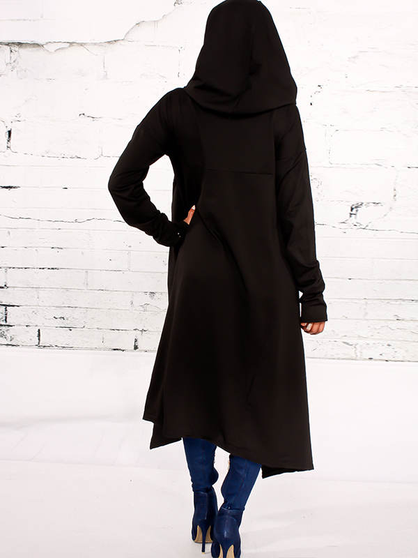 Leisure Heaps Collar Asymmetrical Black Cotton Blends Pullovers