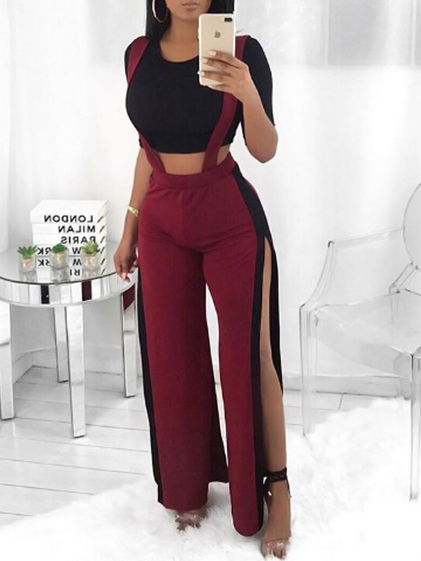 Trendy High Waist Patchwork Hollow-out Wine Red Polyester Pants<br>