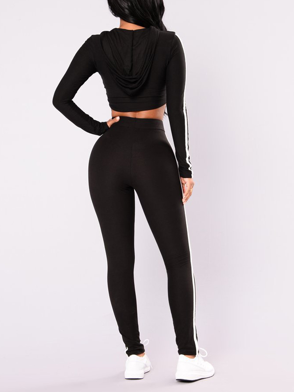Leisure Long Sleeves Patchwork Black Polyester Two-piece Pants Set