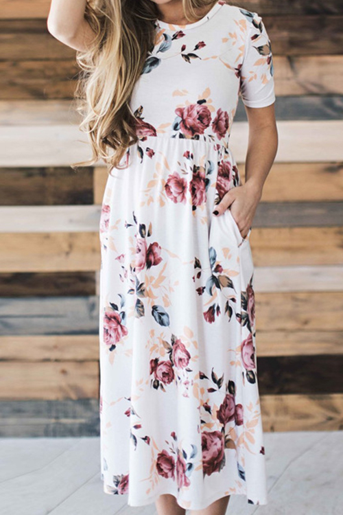 Free Floral Printing Casual Dress
