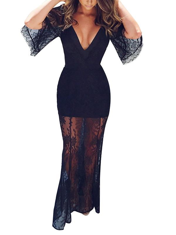 Sexy cuello en V transparente hasta el tobillo de encaje negro vestido (sin forro)