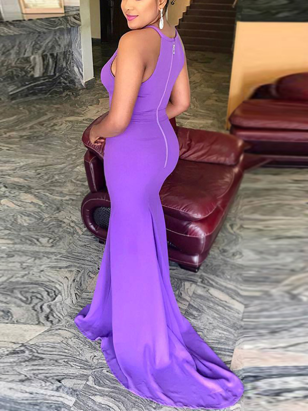 Sexy Round Neck Hollow-out Purple Polyester Floor Length Dress