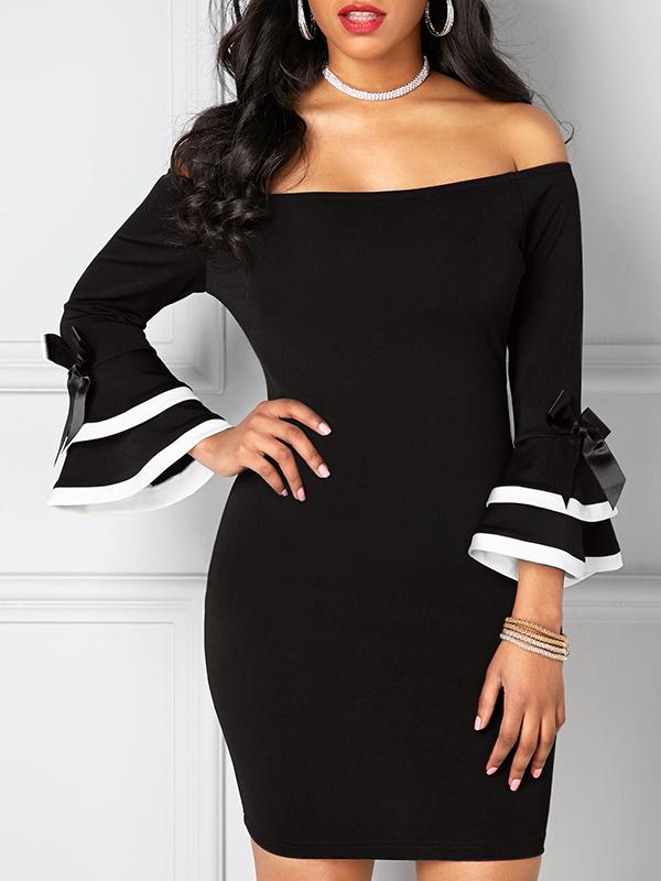 Stylish Dew Shoulder Long Sleeves Patchwork Black Polyester Sheath Mini Dress