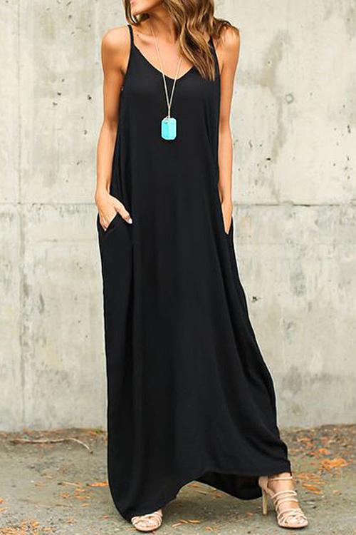 Casual V Neck Cotton Blend Black Cotton Blend Ankle Length Dress(Without Accessories)