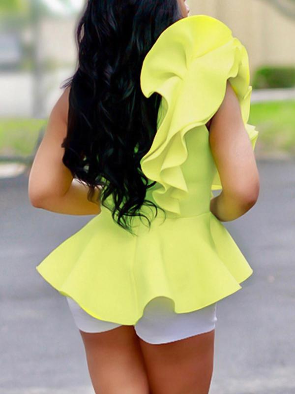 Elegante Falbala Diseño Amarillo Poliéster