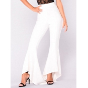Leisure High Waist Falbala Design White Polyester