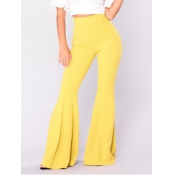 Poliéster sólido cintura elástica alta pantalones regulares P