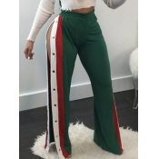 Polyester Striped Elastic Waist High Straight Pant