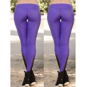 Leisure High Waist Patchwork Purple Polyester Legg