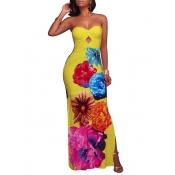 Écharpe de demoiselle à tendance imprimé floral Jaune Polyester Gaine Robe longue à cheville