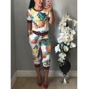 Stylish Round Neck Pineapple printed White Knitting Two-piece Pants Set