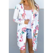Floral Style Casual Long Cardigan
