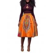 Ethnic Style High Waist Totem Printed Orange Linen
