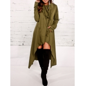 Leisure Heaps Collar Asymmetrical Army Green Cotton Blends Pullovers