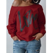 Lovely Leisure Round Neck Long Sleeves Letters Printing Purplish Red Cotton Pullover