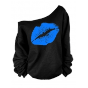 Lovely Leisure Dew Shoulder Lip Printing Blue Blending Pullovers
