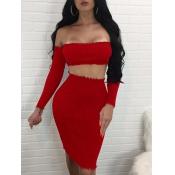 Sexy Dew Shoulder Red Cotton Blend Two-piece Skirt Set