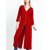 Fashion V Neck Long Sleeves Zipper Design Wine Red pandex Long Coat