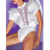 Sexy Falbala Design White Polyester One-piece Jumpsuits