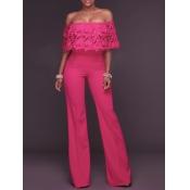 Stylish Dew Shoulder Falbala Design Rose Red Polyester One-piece Jumpsuits