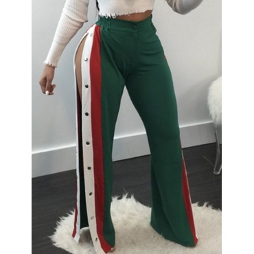 Stylish Elastic Waist Patchwork Green Polyester Pants