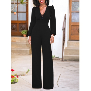 Stylish V Neck Hollow-out Black Blending One-piece Jumpsuits