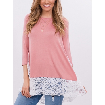 Stylish Round Neck Long Sleeves Lace Patchwork Pink Polyester Shirts