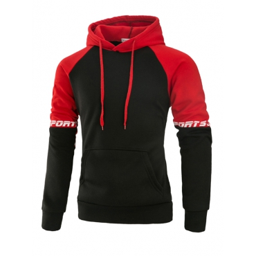 Leisure Long Sleeves Patchwork Red Cotton Blends Hoodies