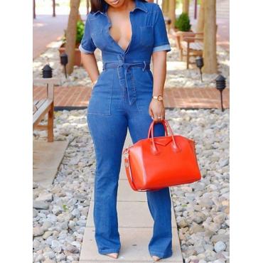 Stylish V-Ausschnitt Lace-up Blue Denim Einteilige Overalls