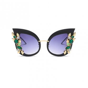 Fashion Cat Eye-shaped Black Metal Sunglasses