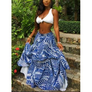 Stylish Mid Waist Non Positioning Printing Polyester Floor Length Skirts