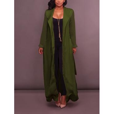 Stylish Turndown Collar Long Sleeves Green Chiffon Long Coat