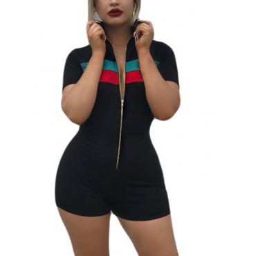 Euramerican Turtle Neck Zipper Design Black Polyester Jumpsuits