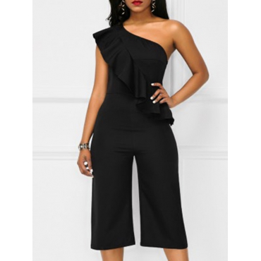 Stylish Asymmetrical Black Polyester One-piece Jumpsuits